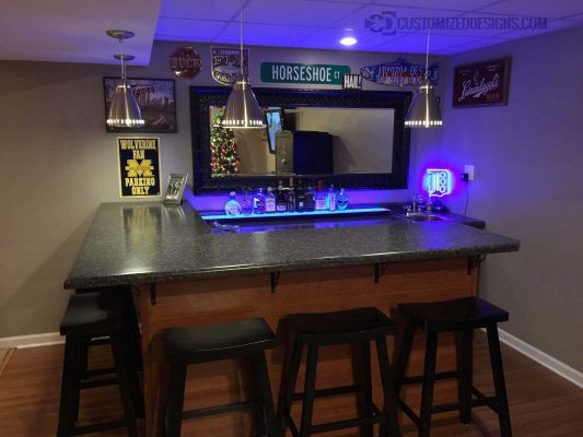 Detroit Michigan Themed Home Bar