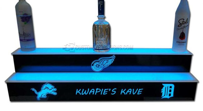 2 Tier LED Bottle Shelf w/ Detroit Sports Teams Logos