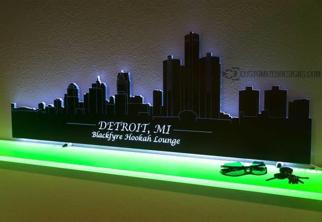 Detroit LED Lighted Skyline