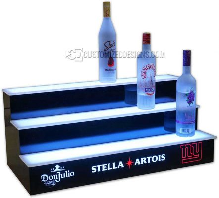 3 Tier Liquor Display w/ Don Julio - Stella - NY Giants Logos