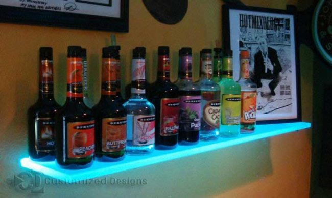 LED Lighted Wall Mounted Liquor Shelving