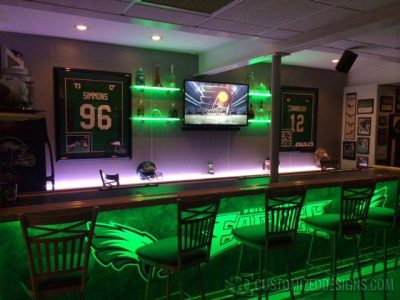 Eagles Themed Basement Bar w/ Lighted Shelves