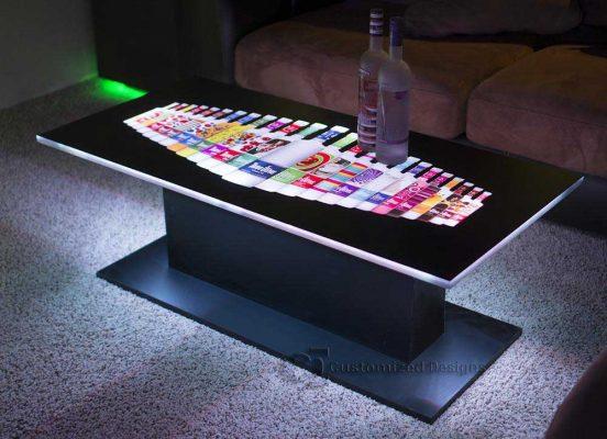 Eclipse Modern LED Coffee Table w/ Three Olives Vodka Logo