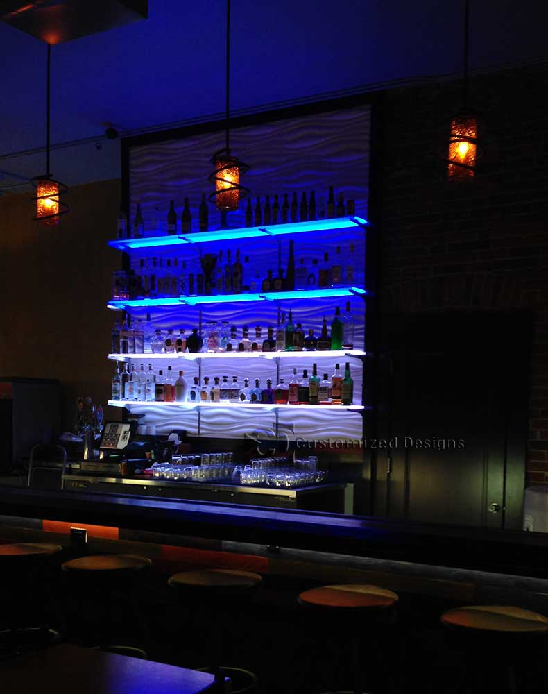 Commercial LED Bar Shelving