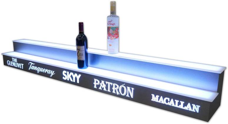 2 Tier Bottle Display w/ Stainless Steel Finish & Liquor Logos