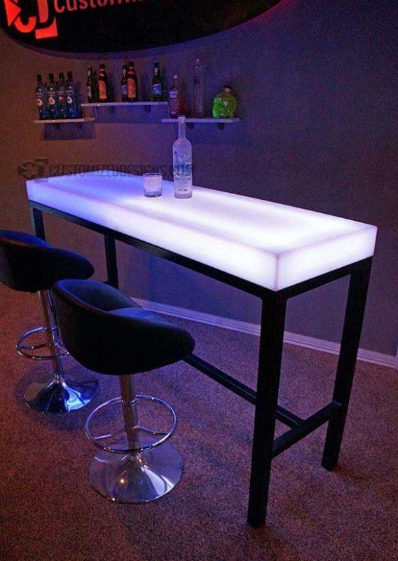 Aurora LED Lighted Bar Height Table