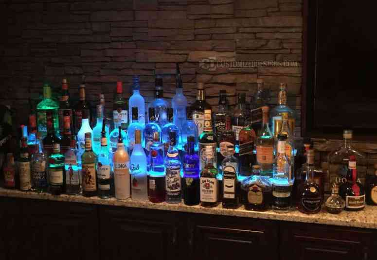 2 Tier Lighted Home Back Bar Display with Blue LED Lighting