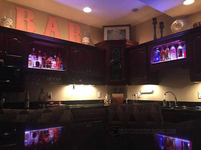Home Bar w/ Custom LED Liquor Display Cabinet