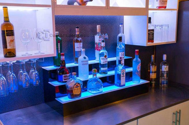 Lighted Bar Shelves - 3 Tiers - Custom Options - Free Shipping!