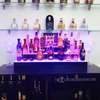 Wrap Style Home Bar Display w/ Glass Shelving