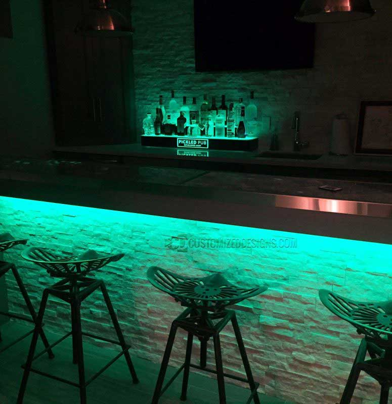 Home Bar With Wrap Style Liquor Display & Under Bar LED Lighting