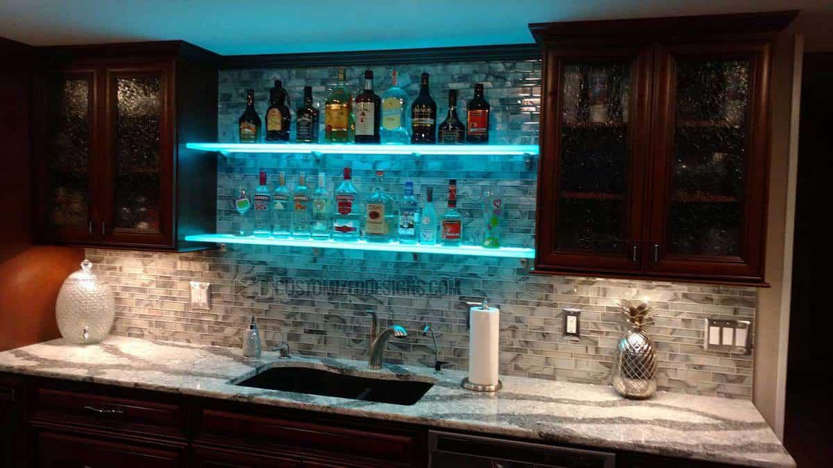 LED Shelving Home Bar - Tile Back Splash