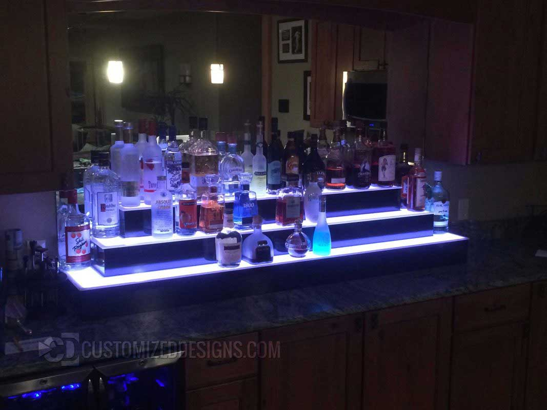 3 Tier Home Bar LED Liquor Shelves