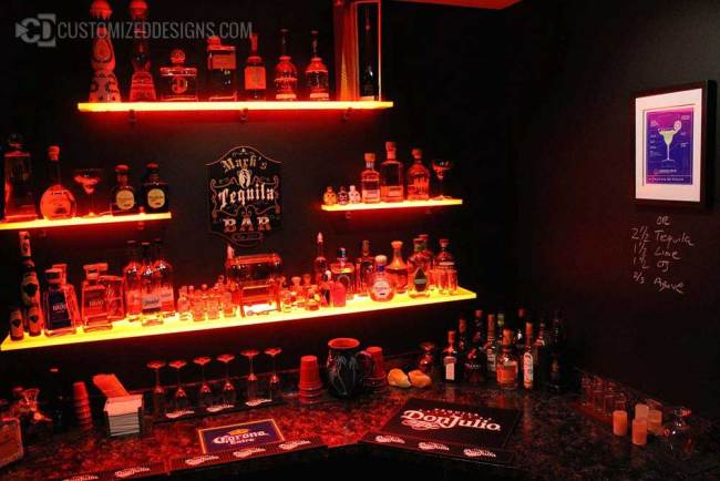 Wall Mounted Home Bar Shelving - Tequila Collection