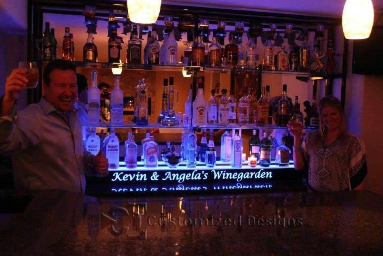 1 Tier Home Bar Liquor Display w/ Lighted Logo