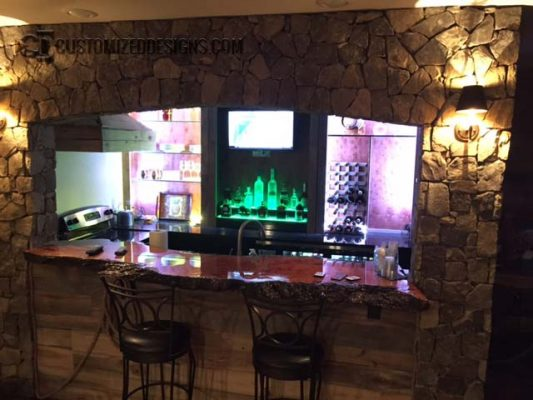 Home Bar Tavern with 2 Tier Liquor Display