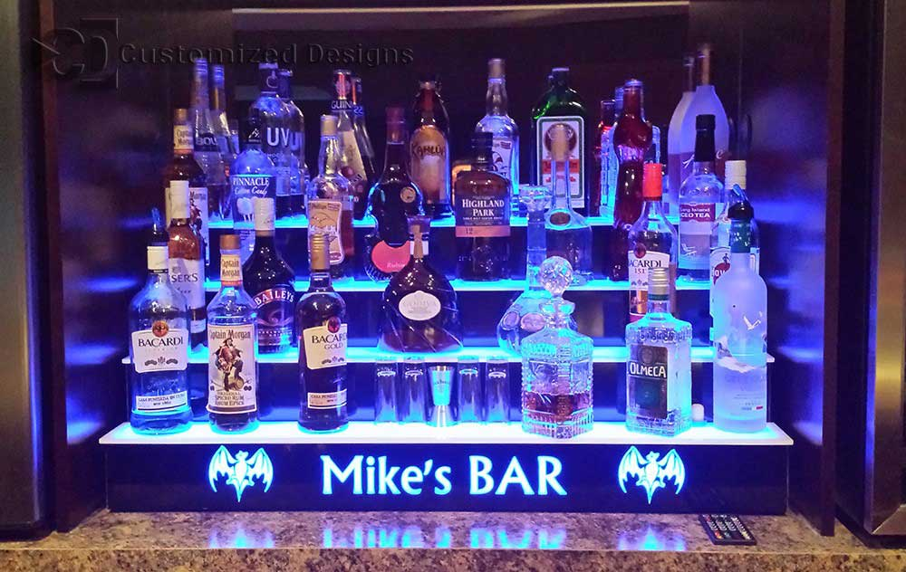 4 Tier Lighted Home Bar Shelves w/ Bacardi Bats