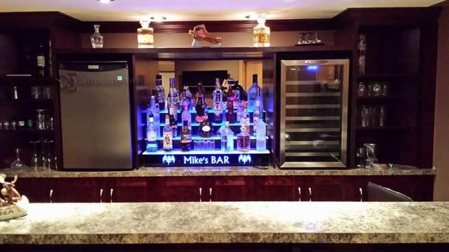 4 Step LED Lighted Home Bar Shelving w/ Lighted Logo
