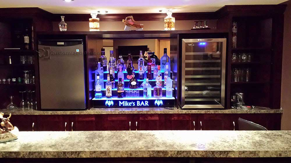 4 Step LED Lighted Home Bar Shelving w/ Lighted Logo