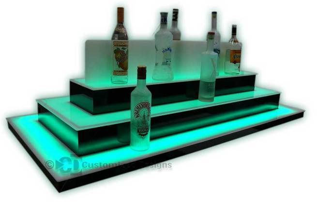 Custom Low Profile Island Liquor Display w/ Acrylic Center Divider