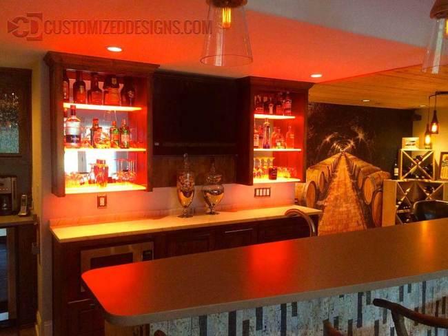 Home Bar Cabinets w/ LED Lighting