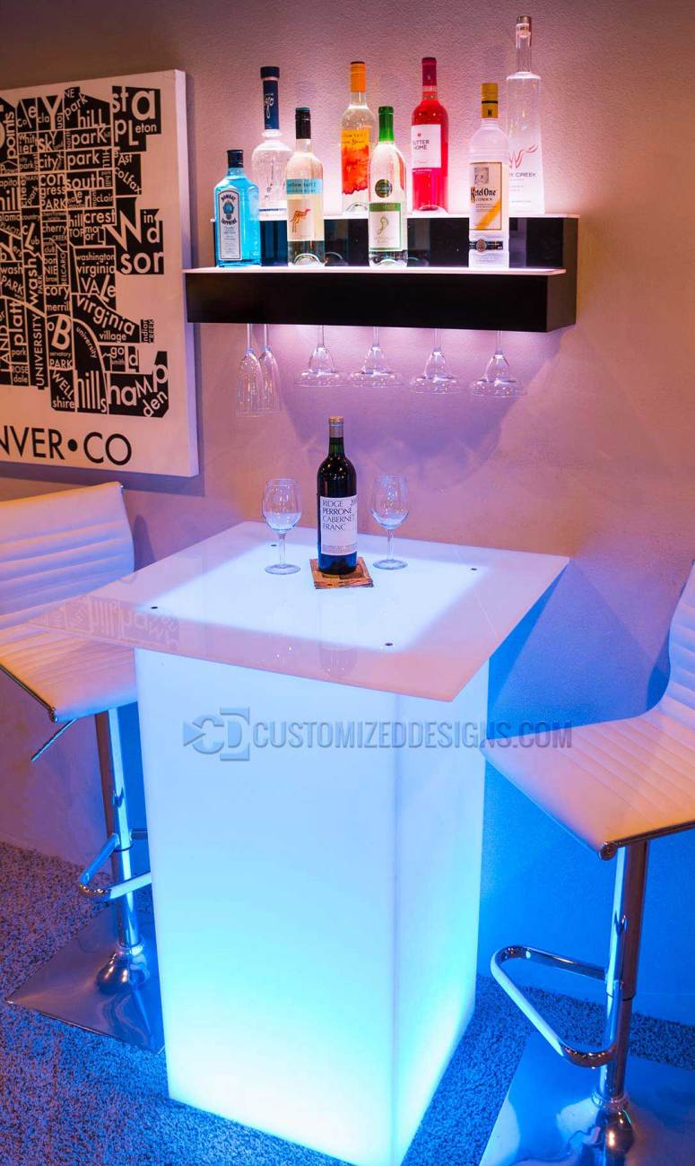 2 Tier Wall Mounted Liquor Display & Lumen LED High Boy Table