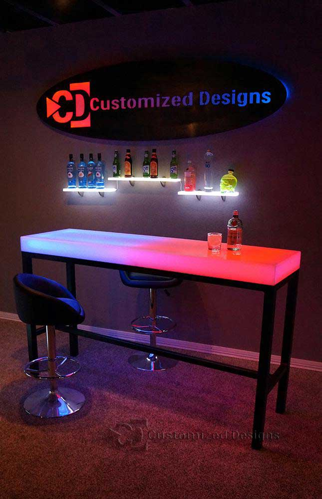 Custom Aurora Series LED High Boy Table