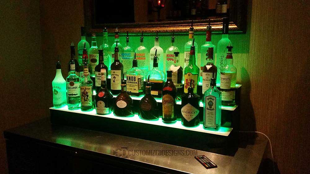 3 Tier Bottle Display w/ Green LED Lighting