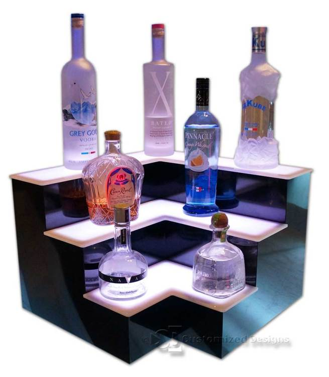 3 Tier Corner Style Liquor Display w/ White LED Lighting