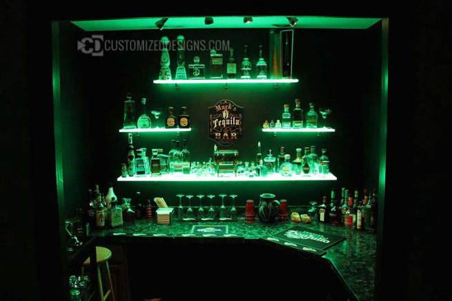 LED Wall Shelving w/ Tequila Collection Display