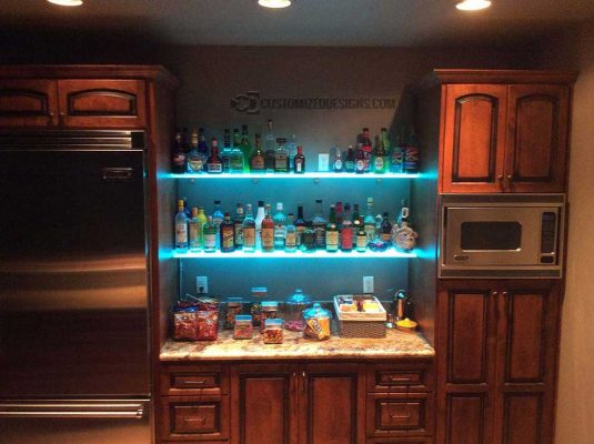 Lighted Frosted Shelving