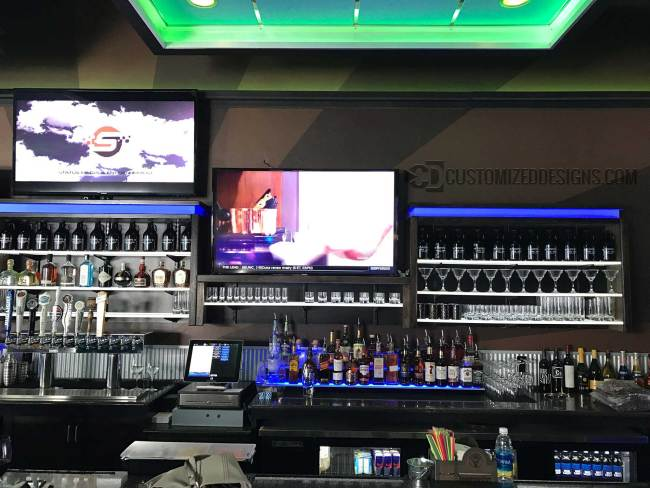 LED Lighted Back Bar w/ LED Shelves & 2 Tier Liquor Displays 4
