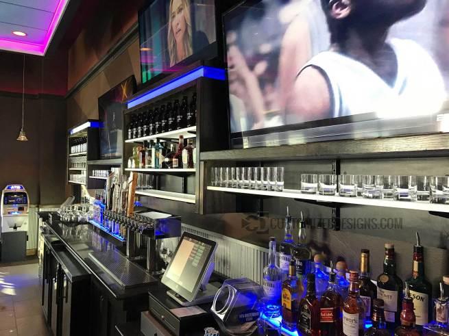 LED Lighted Back Bar w/ LED Shelves & 2 Tier Liquor Displays