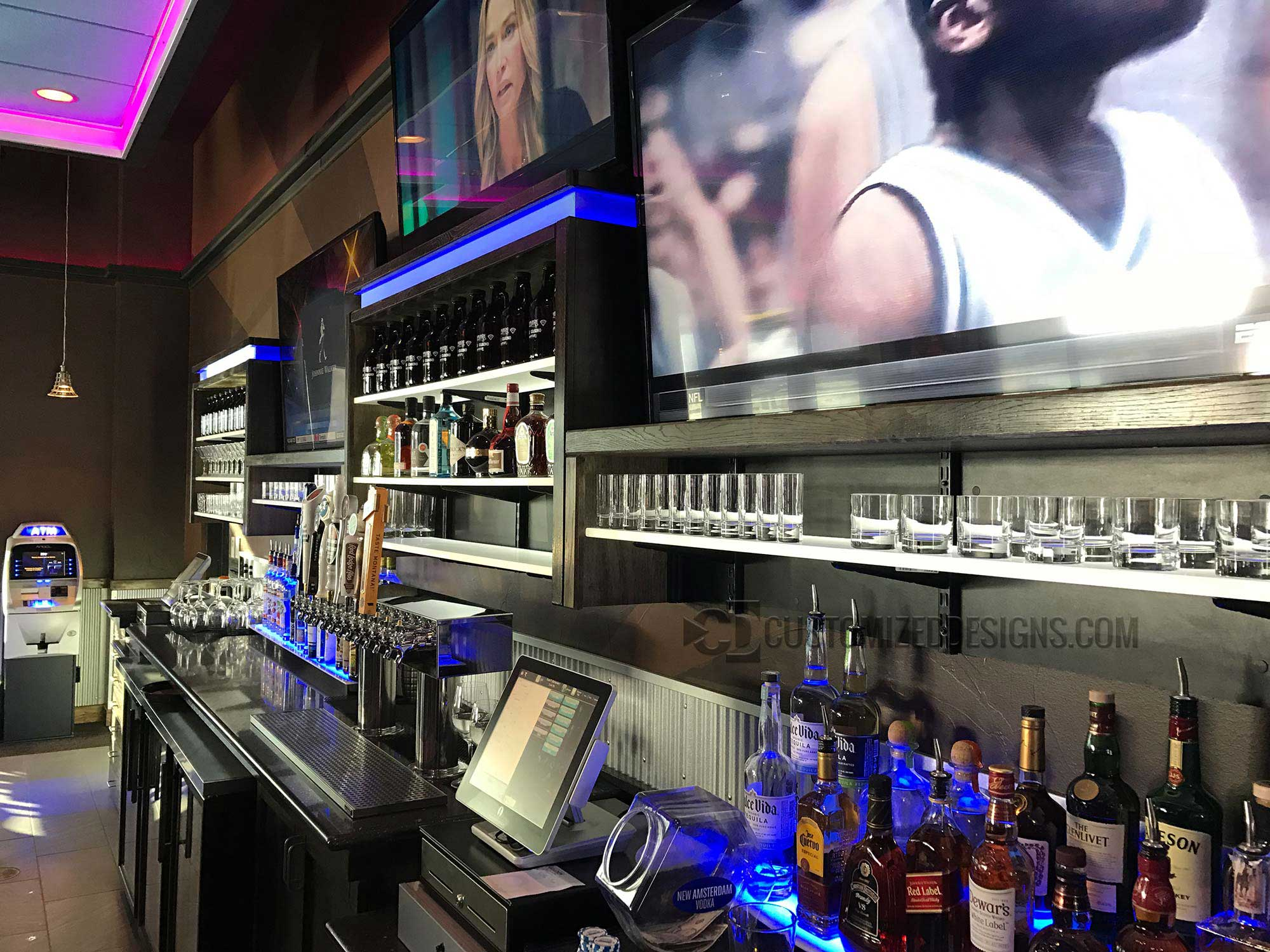 LED Lighted Back Bar w/ LED Shelves & 2 Tier Liquor Displays