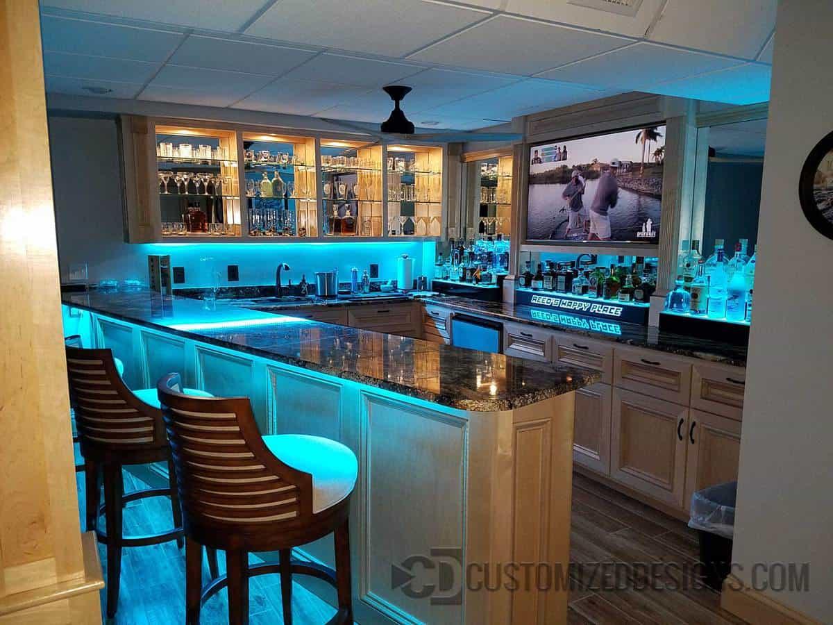 1 Tier Lighted Bar Shelving w/ LED Lighting - Bottle Glorifiers