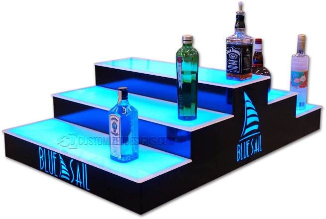Custom 3 Step Island Liquor Display Rack With Lighted Logos