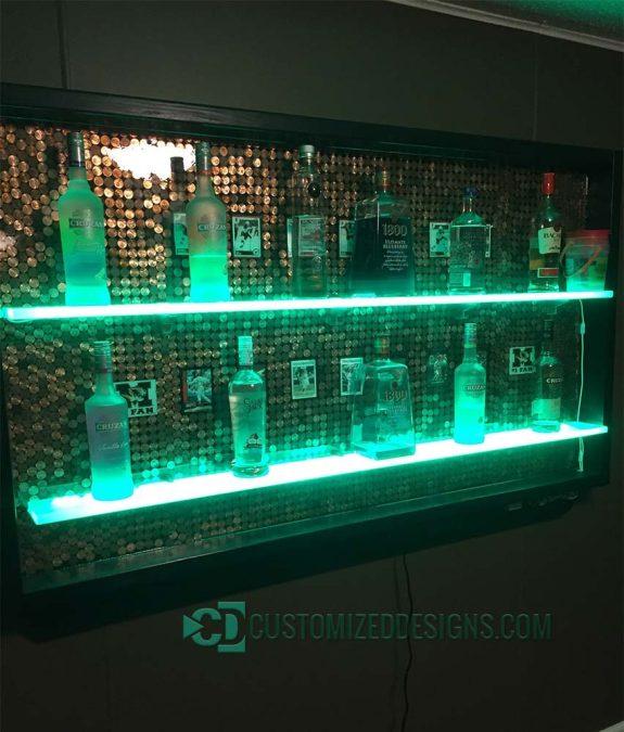 Home Bar w/ Lighted Shelves & Penny Backdrop