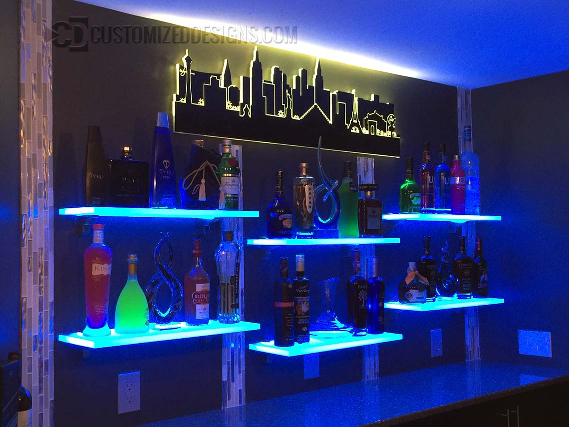 Home Bar Illuminated Shelves & Las Vegas Skyline