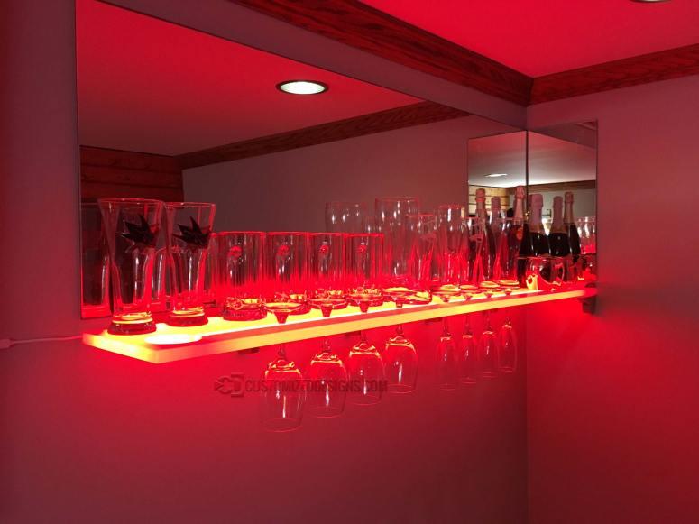 LED Wine Glass Shelving w/ Red Lighting