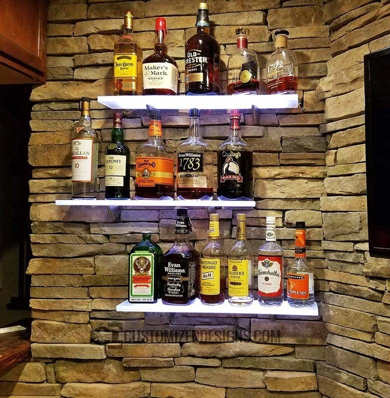 Lighted Back Bar Shelves, Great for Home Bars, Restaurants & Bars!