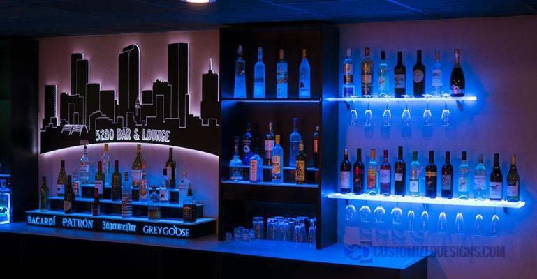 Lighted Wine Glass Racks