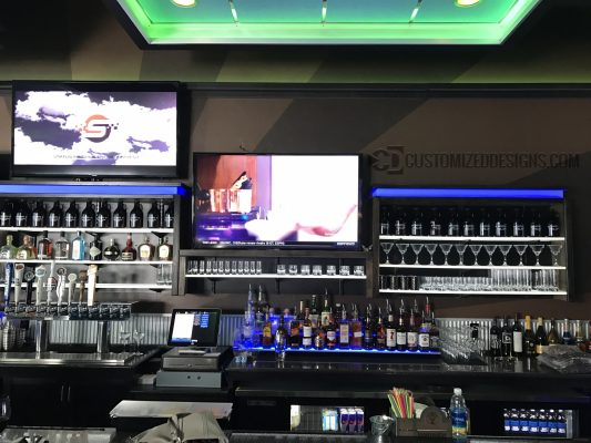 Commercial Back Bar w/ LED Shelving & Liquor Displays