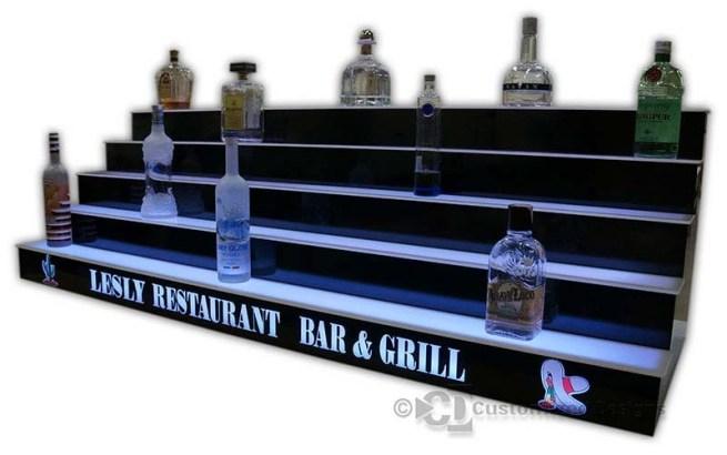 5 Tier LED Lighted Back Bar Shelving 12
