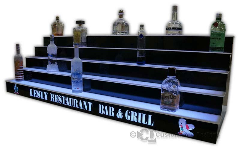 5 Tier LED Lighted Back Bar Shelving 12