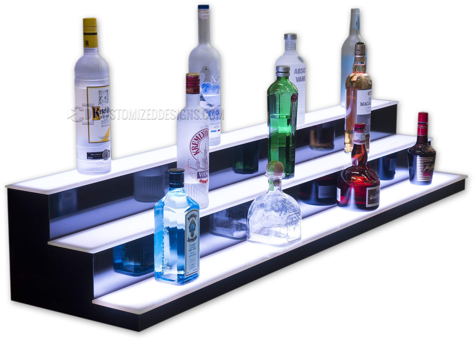 3 Tier LED Lighted Bar Shelving