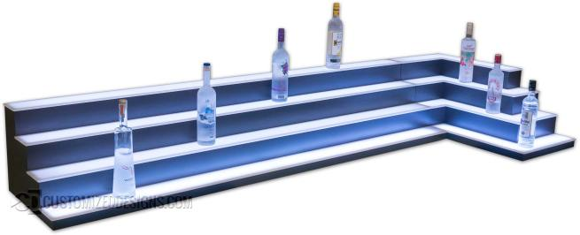 Custom Low Profile Multi-Corner Liquor Shelves