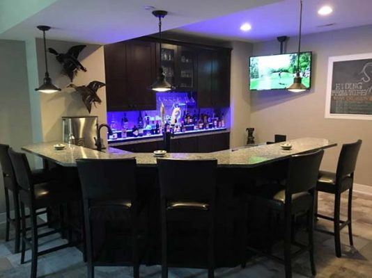 Low Profile Home Bar Display w/ Edge Lit Sign