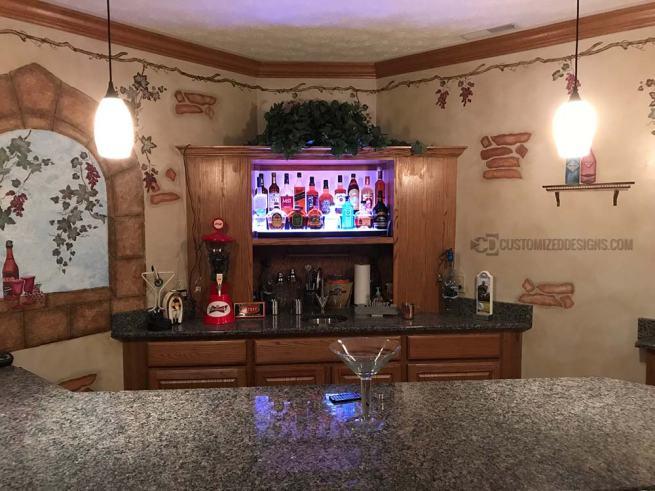 Home Bar Cabinet w/ 2 Tier Low Profile Bottle Shelf