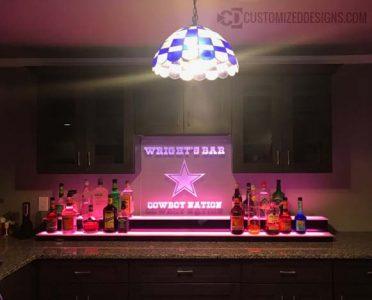 Low Profile Home Bar Display w/ Edge Lit Cowboys Sign