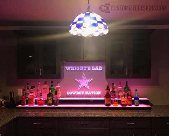 Low Profile Home Bar Display w/ Edge Lit Cowboys Sign